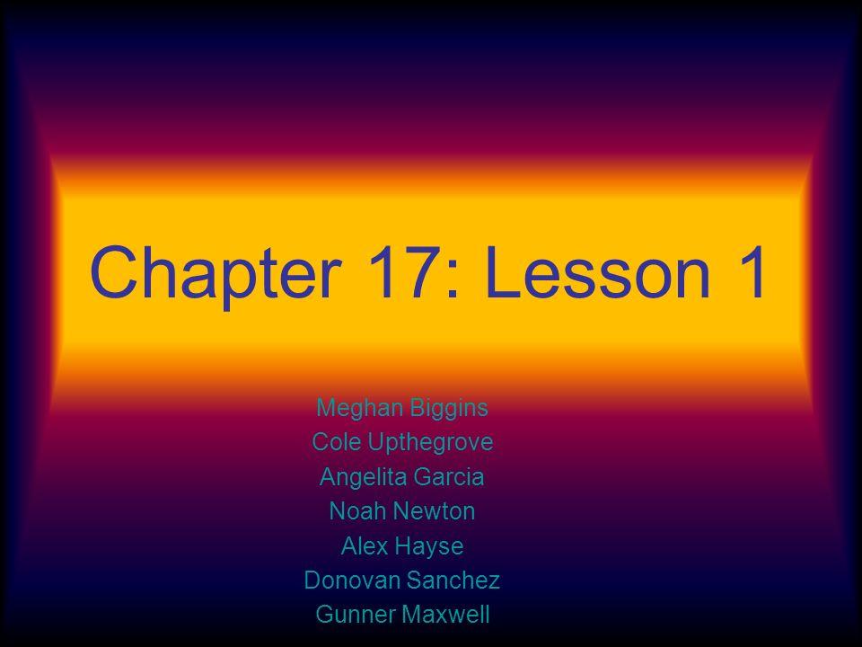 Chapter 17: Lesson 1 Meghan Biggins Cole Upthegrove Angelita Garcia Noah Newton Alex Hayse Donovan Sanchez Gunner Maxwell
