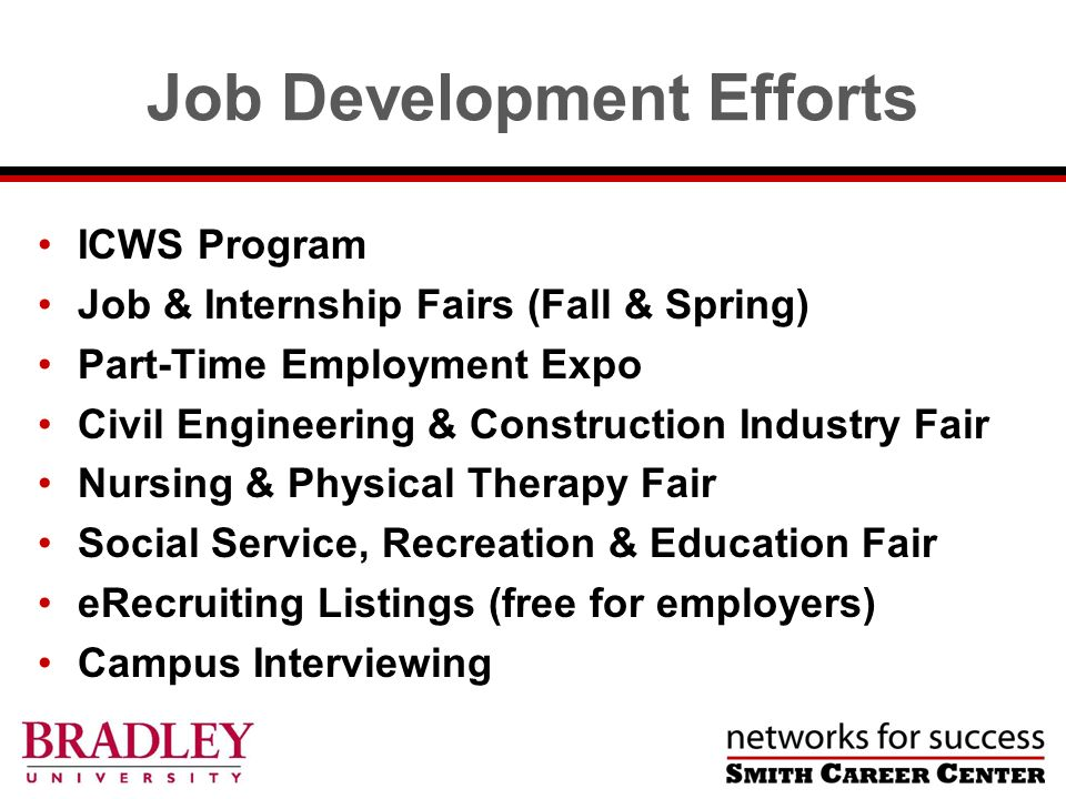 Job Development Efforts ICWS Program Job & Internship Fairs (Fall & Spring) Part-Time Employment Expo Civil Engineering & Construction Industry Fair Nursing & Physical Therapy Fair Social Service, Recreation & Education Fair eRecruiting Listings (free for employers) Campus Interviewing