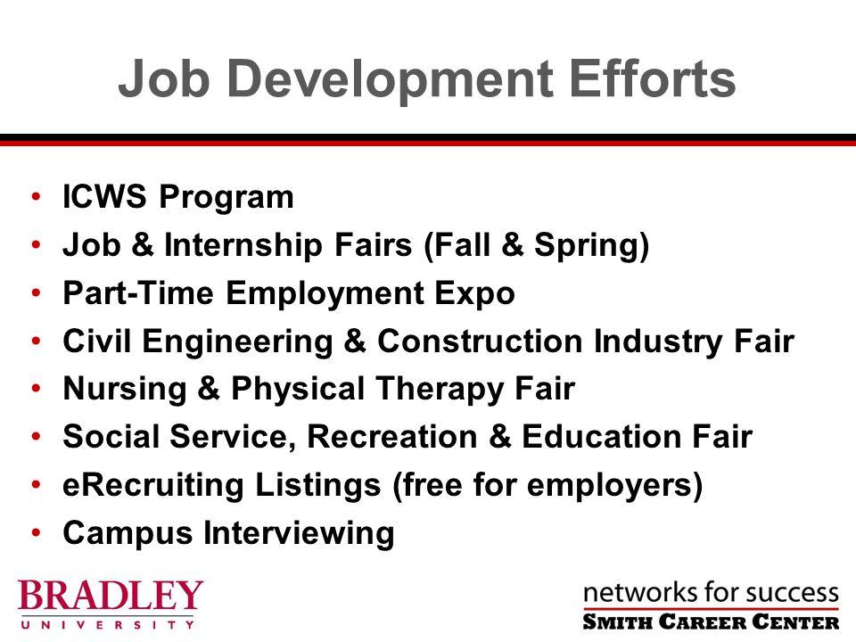 Job Development Efforts ICWS Program Job & Internship Fairs (Fall & Spring) Part-Time Employment Expo Civil Engineering & Construction Industry Fair N