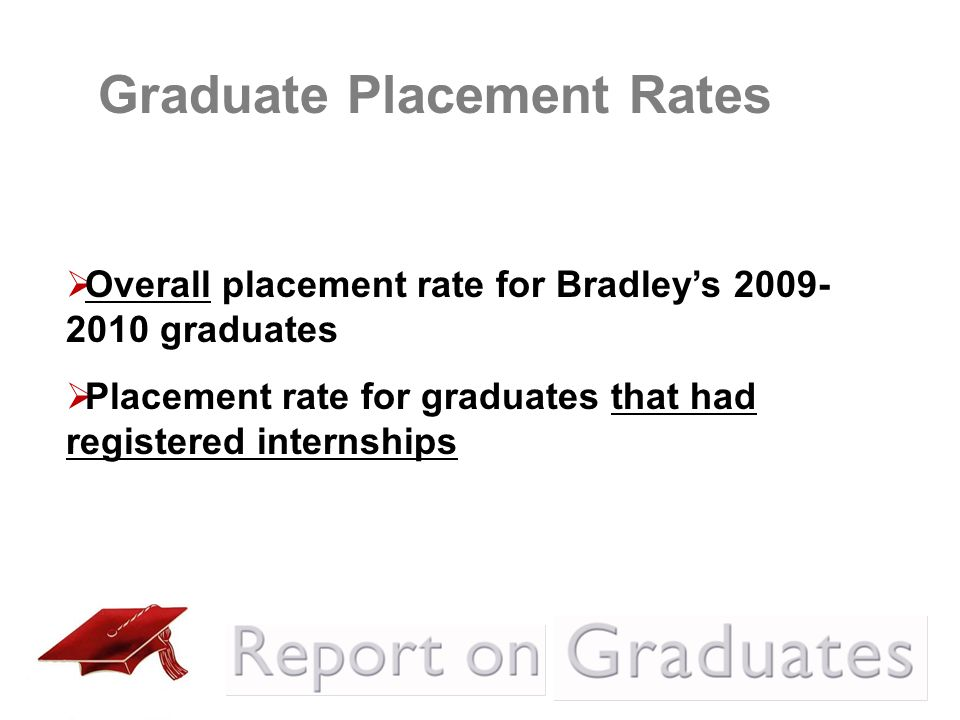 Overall placement rate for Bradleys 2009- 2010 graduates Placement rate for graduates that had registered internships Graduate Placement Rates
