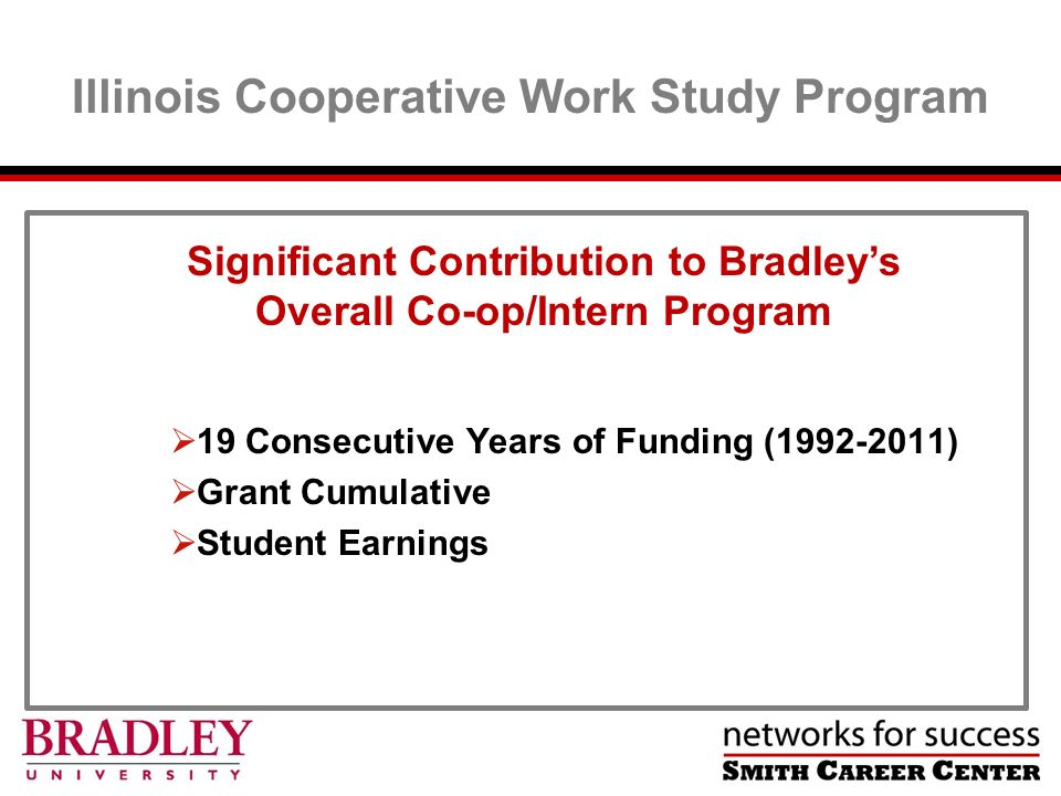Illinois Cooperative Work Study Program Significant Contribution to Bradleys Overall Co-op/Intern Program 19 Consecutive Years of Funding (1992-2011) Grant Cumulative Student Earnings