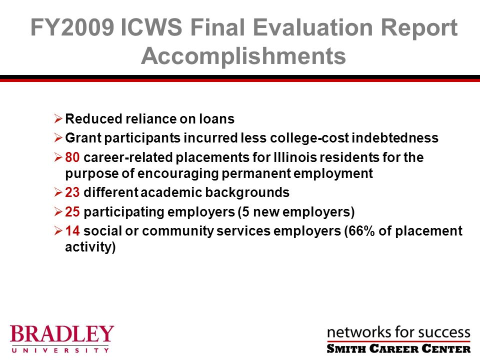 Reduced reliance on loans Grant participants incurred less college-cost indebtedness 80 career-related placements for Illinois residents for the purpose of encouraging permanent employment 23 different academic backgrounds 25 participating employers (5 new employers) 14 social or community services employers (66% of placement activity) FY2009 ICWS Final Evaluation Report Accomplishments