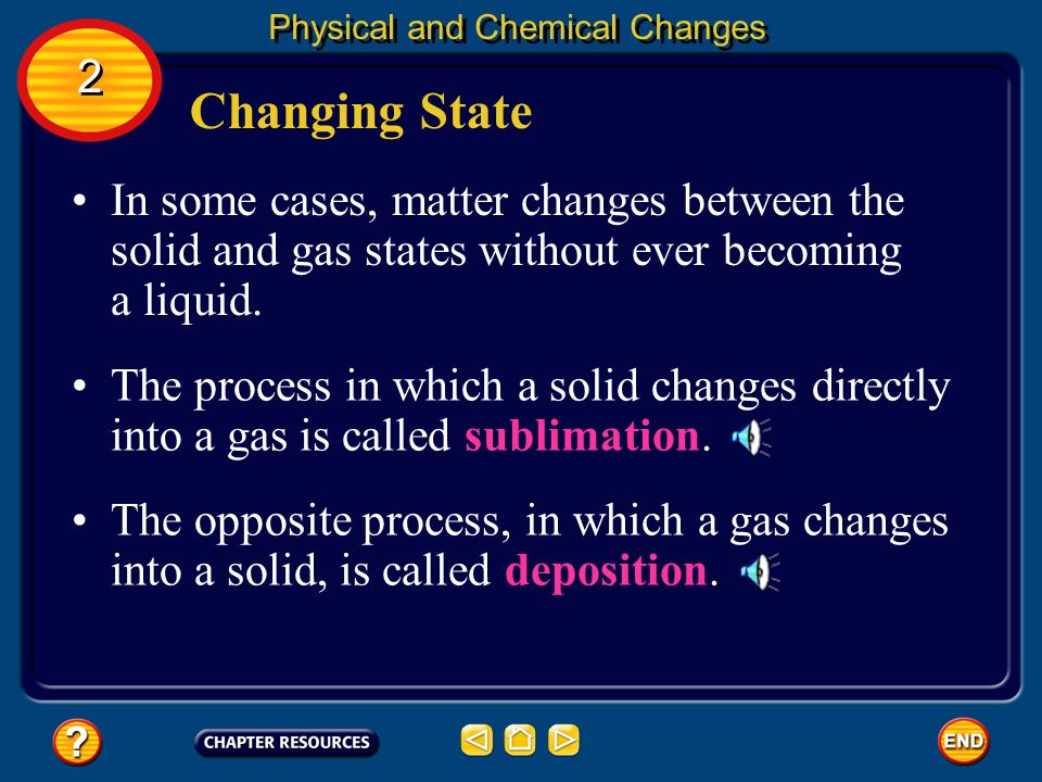 Changing State Physical and Chemical Changes 2 2 A liquid also can change into a gas. This process is known as vaporization. During the reverse proces