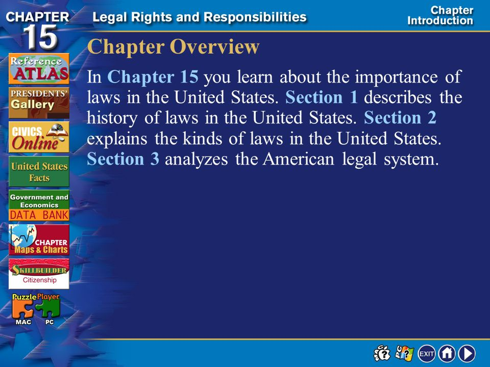 Contents Chapter Introduction Section 1The Sources of Our Laws Section 2Types of Laws Section 3The American Legal System Review to Learn Chapter Asses