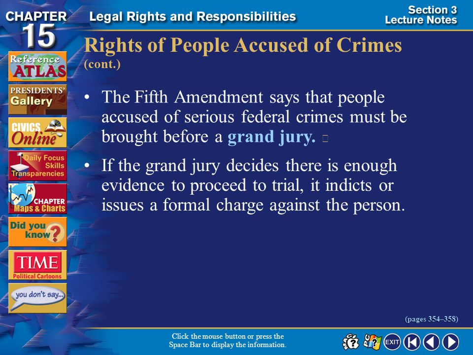 Section 3-13 Rights of People Accused of Crimes (cont.) Click the mouse button or press the Space Bar to display the information. (pages 354–358) In M