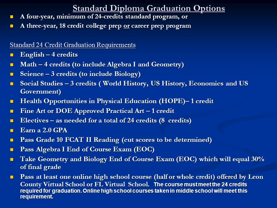 Standard Diploma Graduation Options A four-year, minimum of 24-credits standard program, or A four-year, minimum of 24-credits standard program, or A