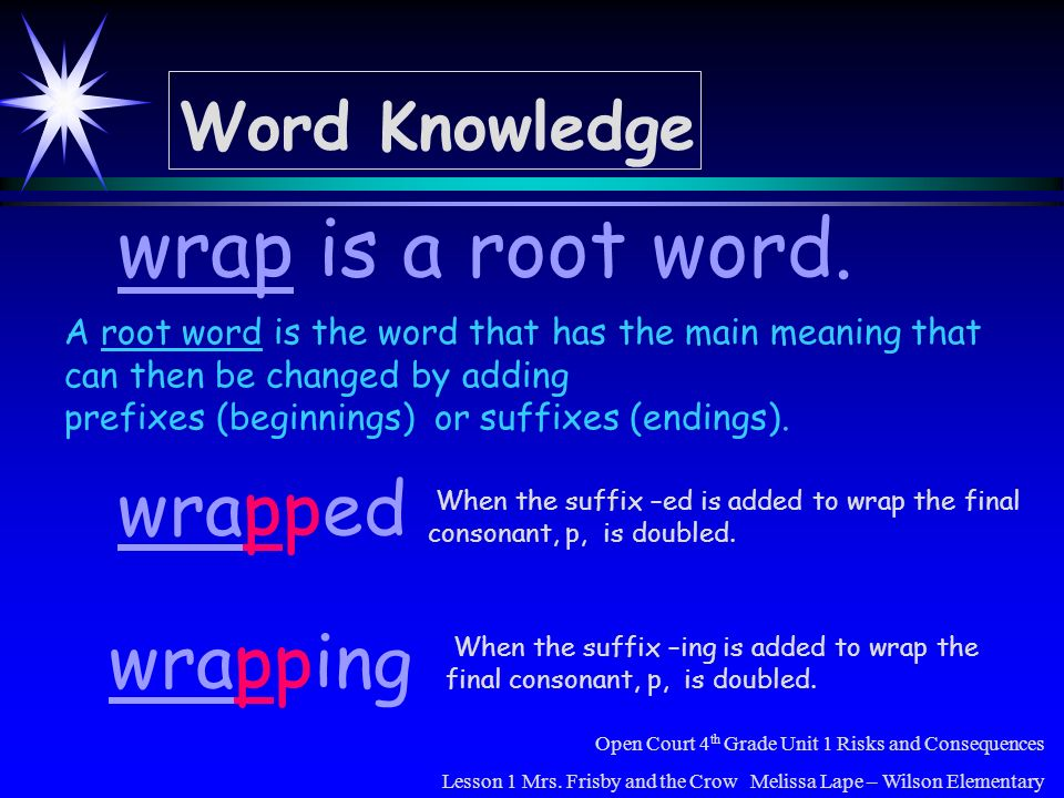 Word Knowledge wrapping wrap is a root word. wrapped Open Court 4 th Grade Unit 1 Risks and Consequences Lesson 1 Mrs. Frisby and the Crow Melissa Lap