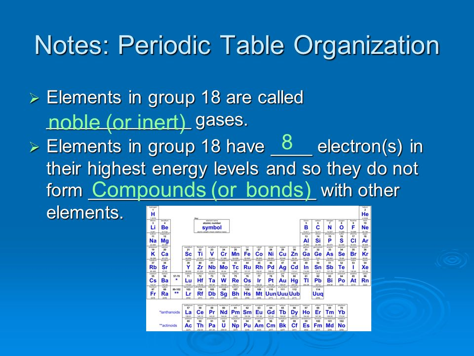 Notes: Periodic Table Organization Elements in group 18 are called ______________ gases. Elements in group 18 are called ______________ gases. Element