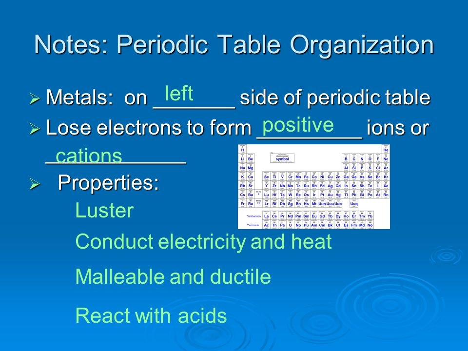 Notes: Periodic Table Organization Metals: on _______ side of periodic table Metals: on _______ side of periodic table Lose electrons to form ________