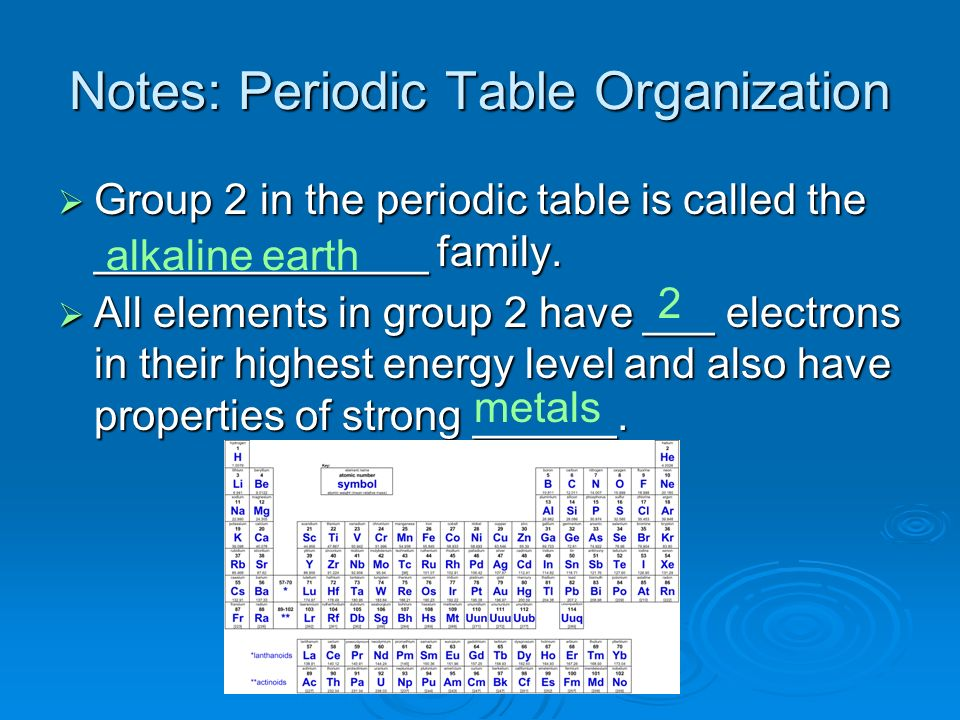 Notes: Periodic Table Organization Elements in groups 1 and 2 have ______ orbital electrons being added to them.