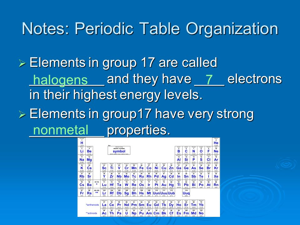 Notes: Periodic Table Organization Elements in group 17 are called __________ and they have ____ electrons in their highest energy levels. Elements in
