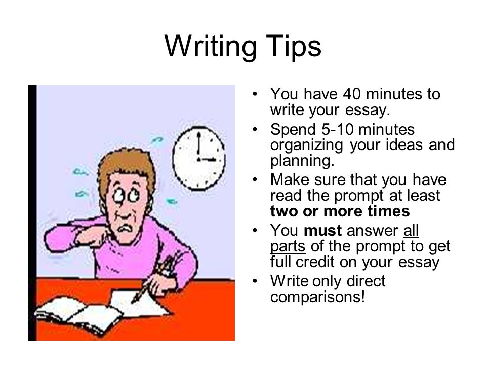 Writing Tips You have 40 minutes to write your essay. Spend 5-10 minutes organizing your ideas and planning. Make sure that you have read the prompt a