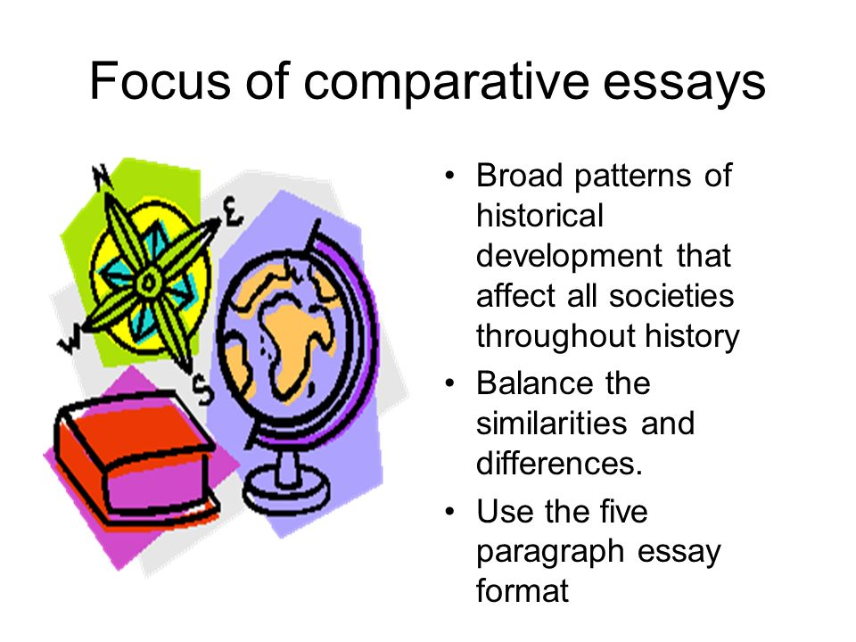 Focus of comparative essays Broad patterns of historical development that affect all societies throughout history Balance the similarities and differe