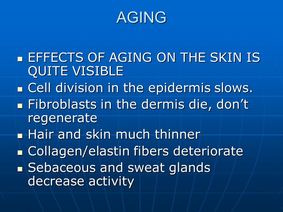 AGING EFFECTS OF AGING ON THE SKIN IS QUITE VISIBLE EFFECTS OF AGING ON THE SKIN IS QUITE VISIBLE Cell division in the epidermis slows. Cell division