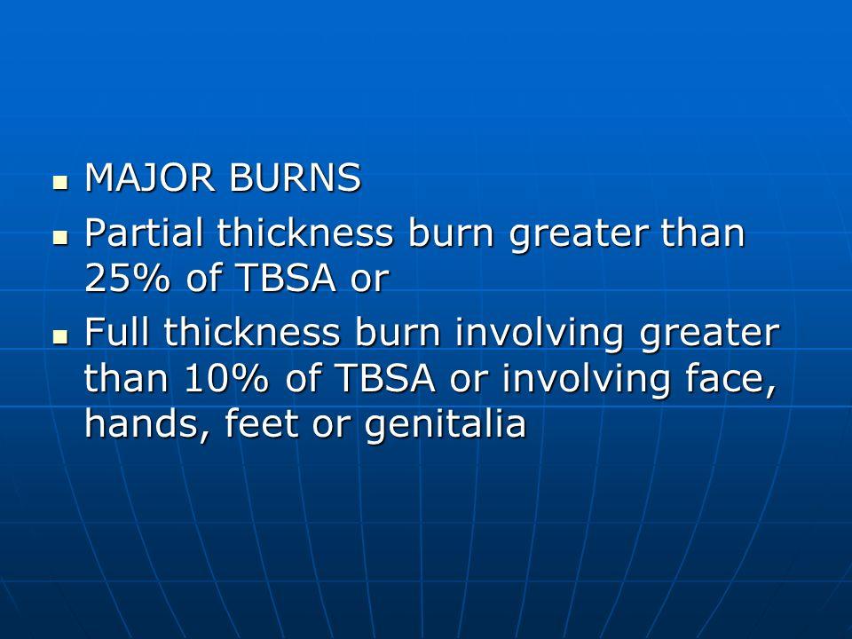 MAJOR BURNS MAJOR BURNS Partial thickness burn greater than 25% of TBSA or Partial thickness burn greater than 25% of TBSA or Full thickness burn invo