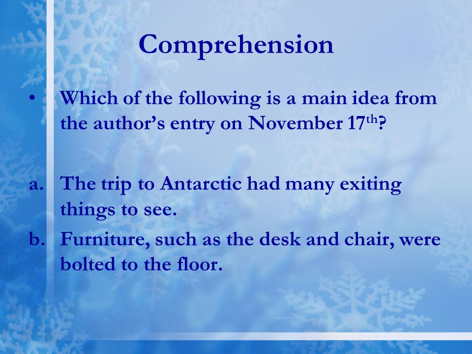 Answer A. Masses of the ice that float in the ocean