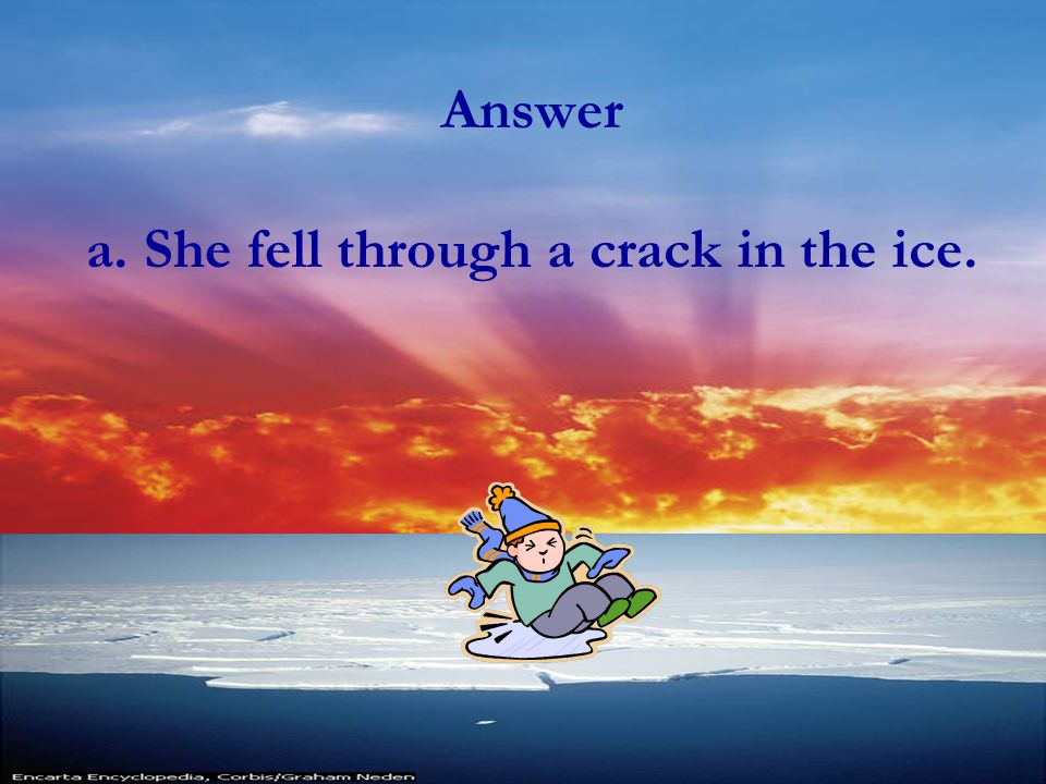 Comprehension What happened on December 24 th after the author noticed the glowing sky? a.She fell through a crack in the ice. b.She went for a walk u