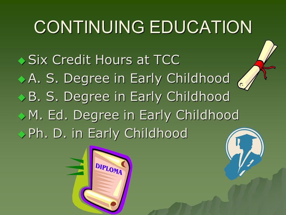 CONTINUING EDUCATION Six Credit Hours at TCC Six Credit Hours at TCC A. S. Degree in Early Childhood A. S. Degree in Early Childhood B. S. Degree in E