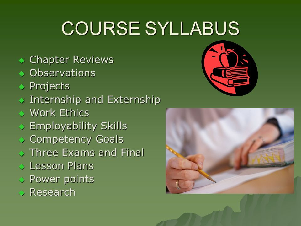 COURSE SYLLABUS Chapter Reviews Chapter Reviews Observations Observations Projects Projects Internship and Externship Internship and Externship Work Ethics Work Ethics Employability Skills Employability Skills Competency Goals Competency Goals Three Exams and Final Three Exams and Final Lesson Plans Lesson Plans Power points Power points Research Research