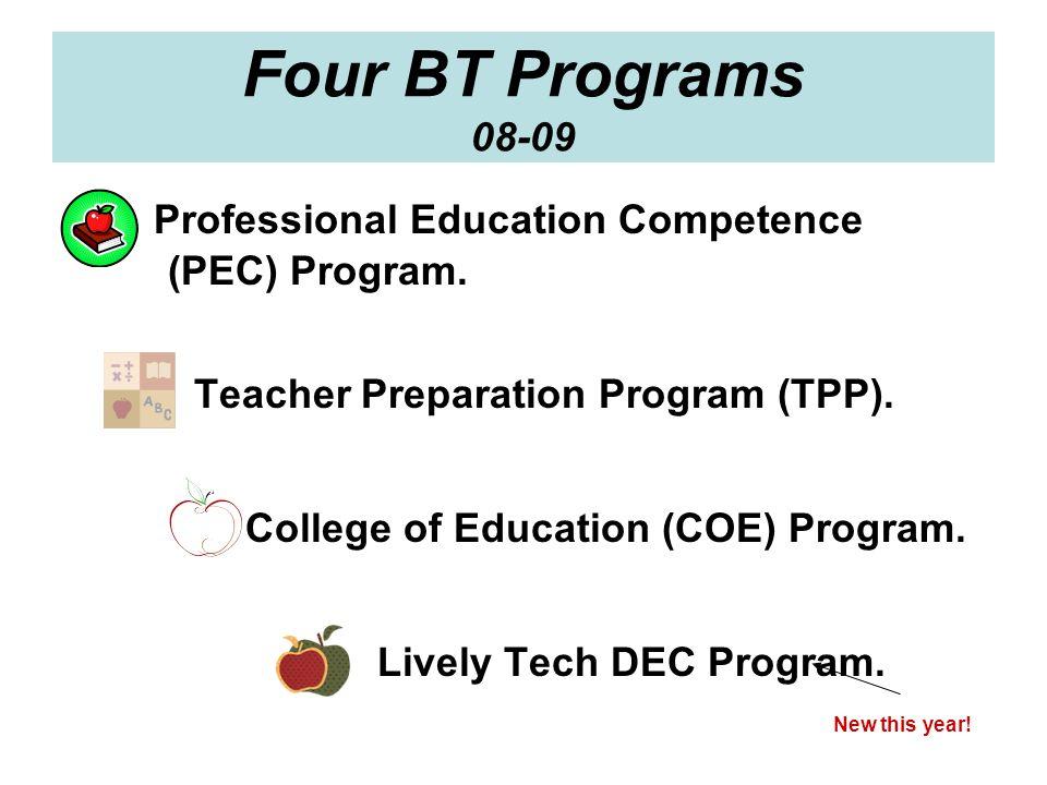 Four BT Programs 08-09 Professional Education Competence (PEC) Program. Teacher Preparation Program (TPP). College of Education (COE) Program. Lively