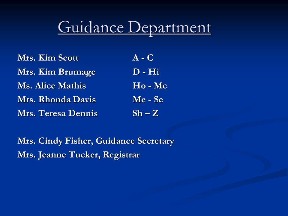 Guidance Department Mrs. Kim Scott A - C Mrs. Kim Brumage D - Hi Ms.