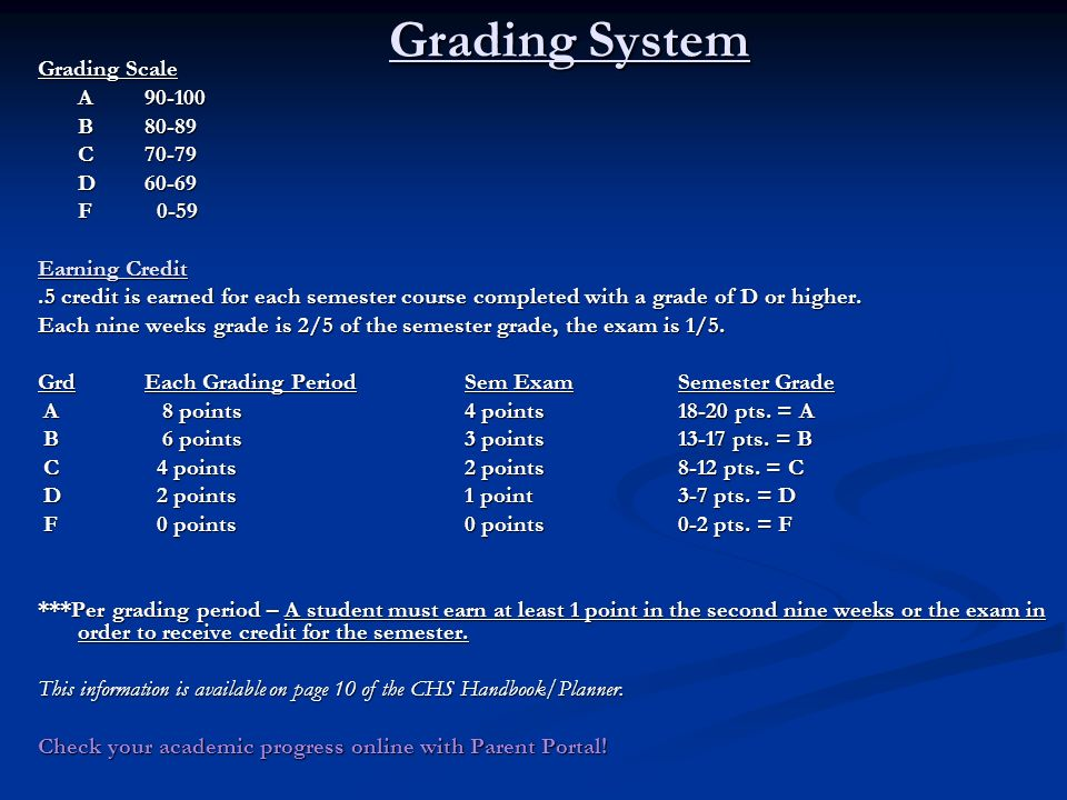 Grading System Grading Scale A B80-89 C70-79 D60-69 F 0-59 Earning Credit.5 credit is earned for each semester course completed with a grade of D or higher.