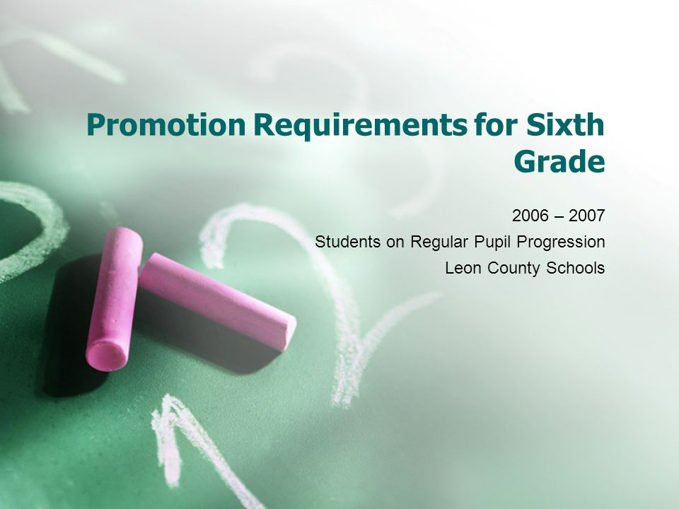 Promotion Requirements for Sixth Grade 2006 – 2007 Students on Regular Pupil Progression Leon County Schools
