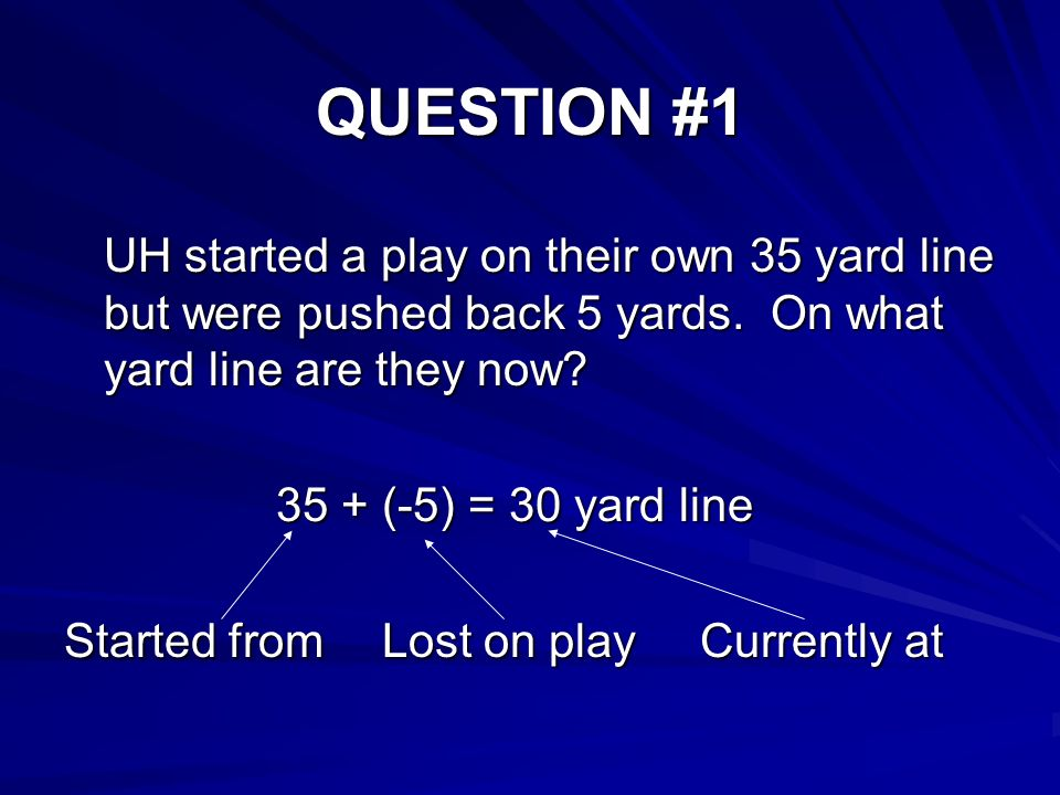 QUESTION #1 UH started a play on their own 35 yard line but were pushed back 5 yards.