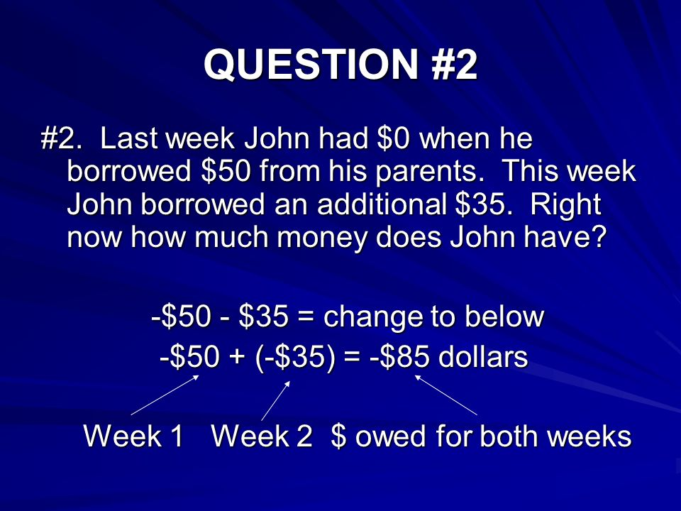 QUESTION #2 #2. Last week John had $0 when he borrowed $50 from his parents.