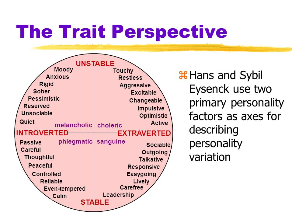 The Trait Perspective zHans and Sybil Eysenck use two primary personality factors as axes for describing personality variation UNSTABLE STABLE choleri