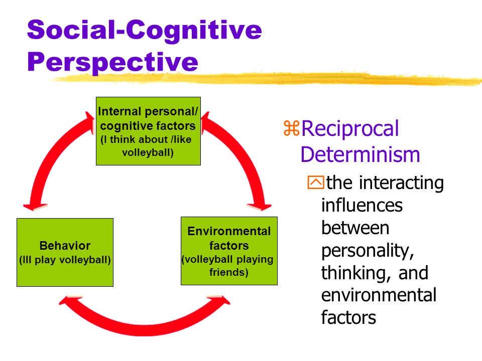 Social-Cognitive Perspective zReciprocal Determinism ythe interacting influences between personality, thinking, and environmental factors Internal per
