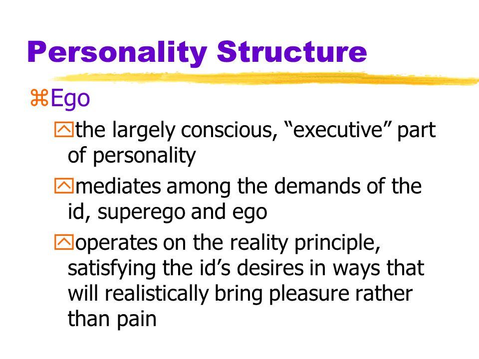 Personality Structure zFreuds idea of the minds structure Id Superego EgoConscious mind Unconscious mind