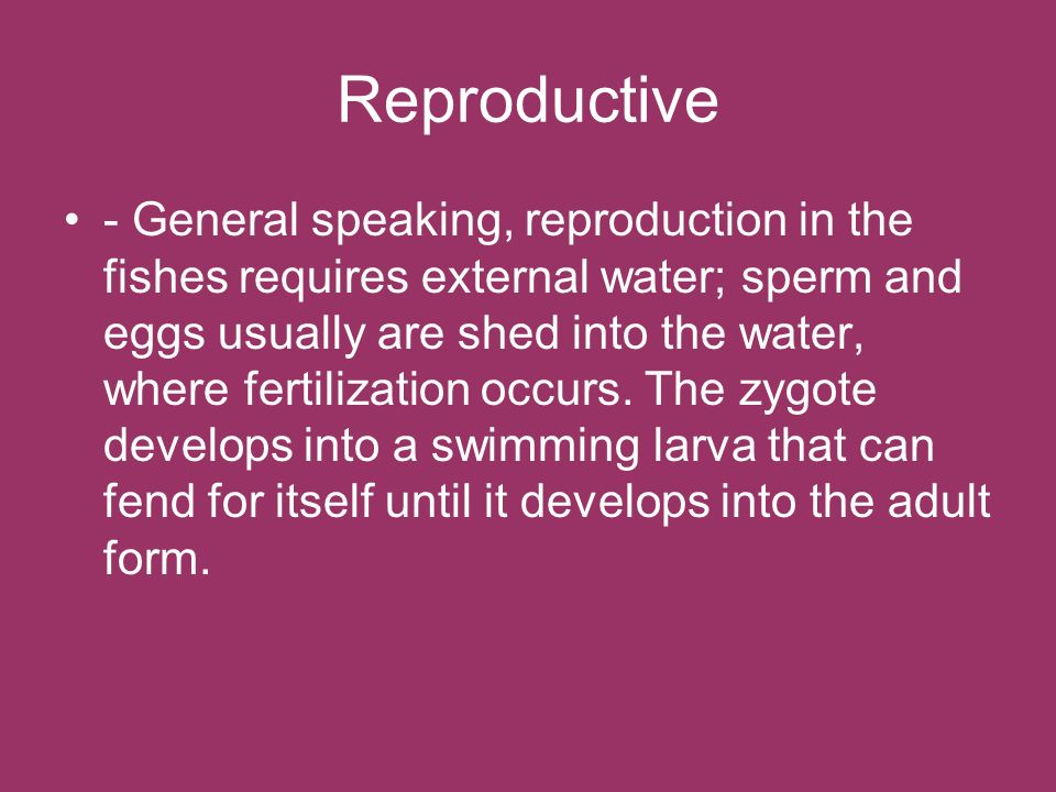 Reproductive - General speaking, reproduction in the fishes requires external water; sperm and eggs usually are shed into the water, where fertilizati