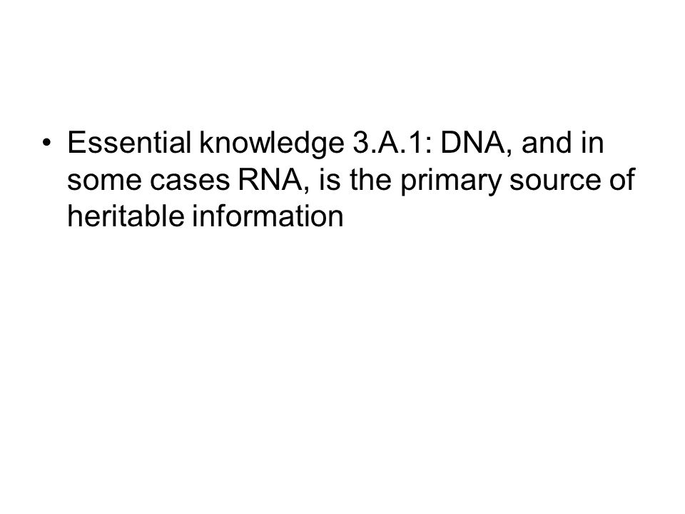Essential knowledge 3.A.1: DNA, and in some cases RNA, is the primary source of heritable information