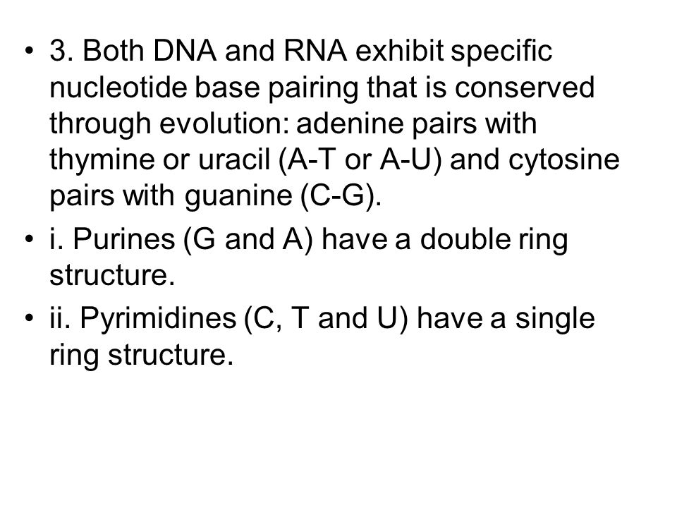 3. Both DNA and RNA exhibit specific nucleotide base pairing that is conserved through evolution: adenine pairs with thymine or uracil (A-T or A-U) an