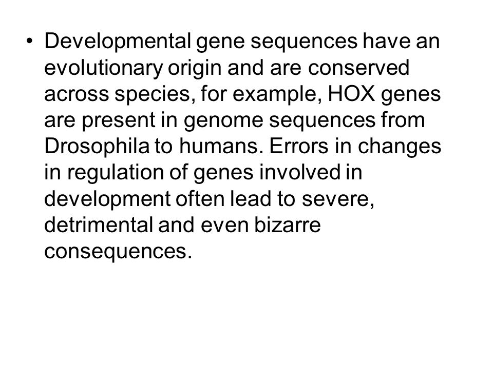 Developmental gene sequences have an evolutionary origin and are conserved across species, for example, HOX genes are present in genome sequences from