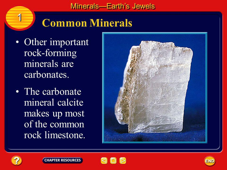 Common Minerals MineralsEarths Jewels 1 1 More than half of the minerals in Earths crust are types of a silicate mineral called feldspar.