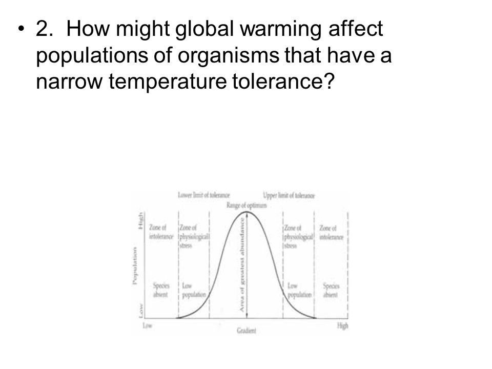 2. How might global warming affect populations of organisms that have a narrow temperature tolerance?