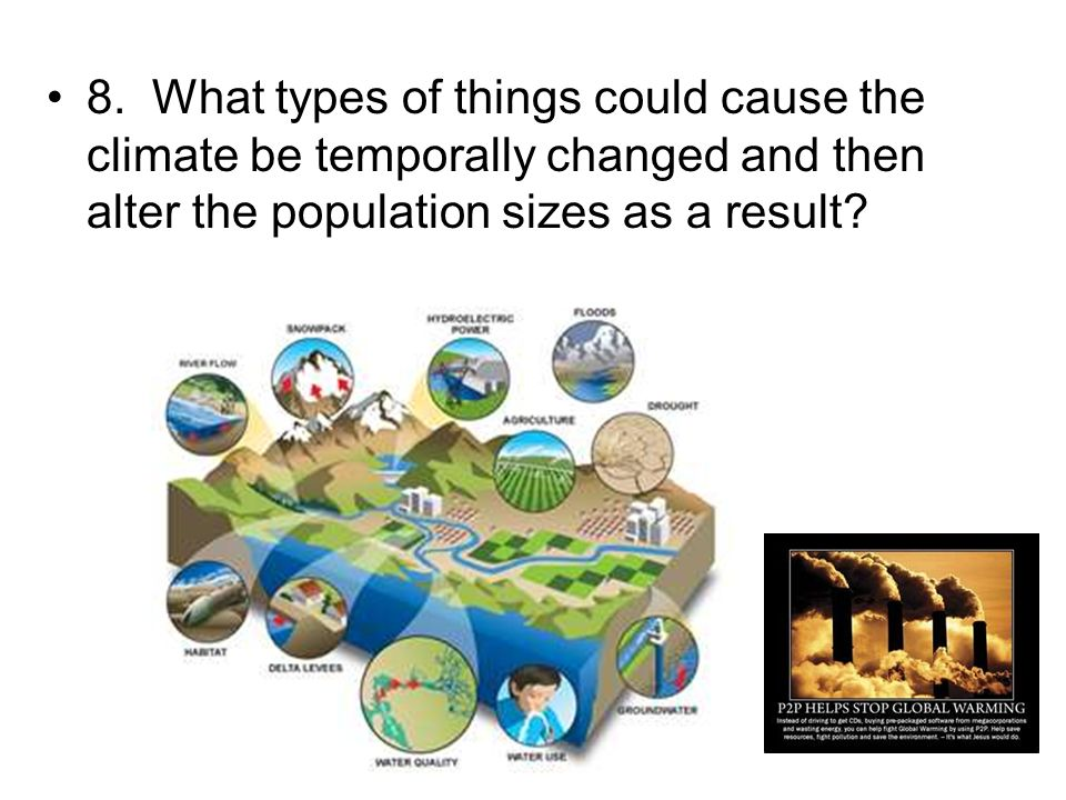 8. What types of things could cause the climate be temporally changed and then alter the population sizes as a result?