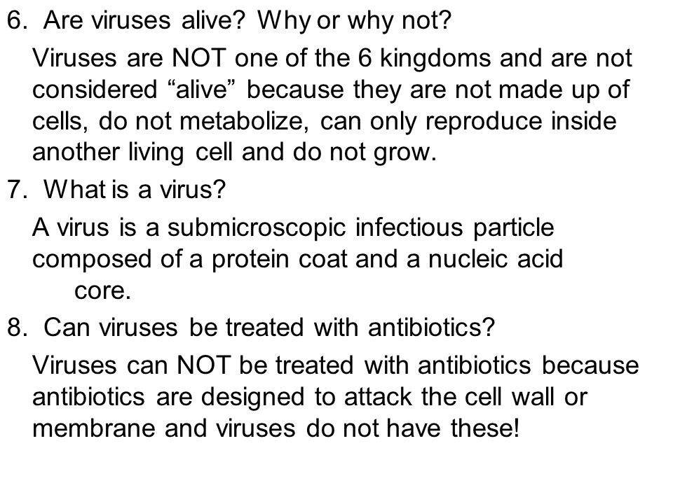 6. Are viruses alive? Why or why not? Viruses are NOT one of the 6 kingdoms and are not considered alive because they are not made up of cells, do not