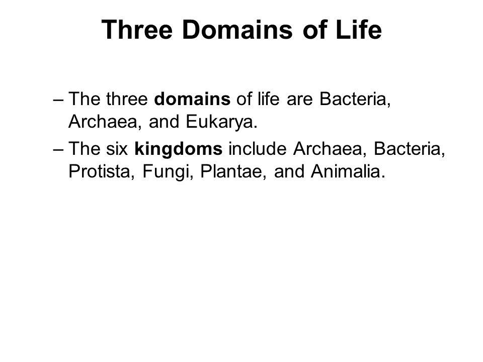 Three Domains of Life –The three domains of life are Bacteria, Archaea, and Eukarya. –The six kingdoms include Archaea, Bacteria, Protista, Fungi, Pla
