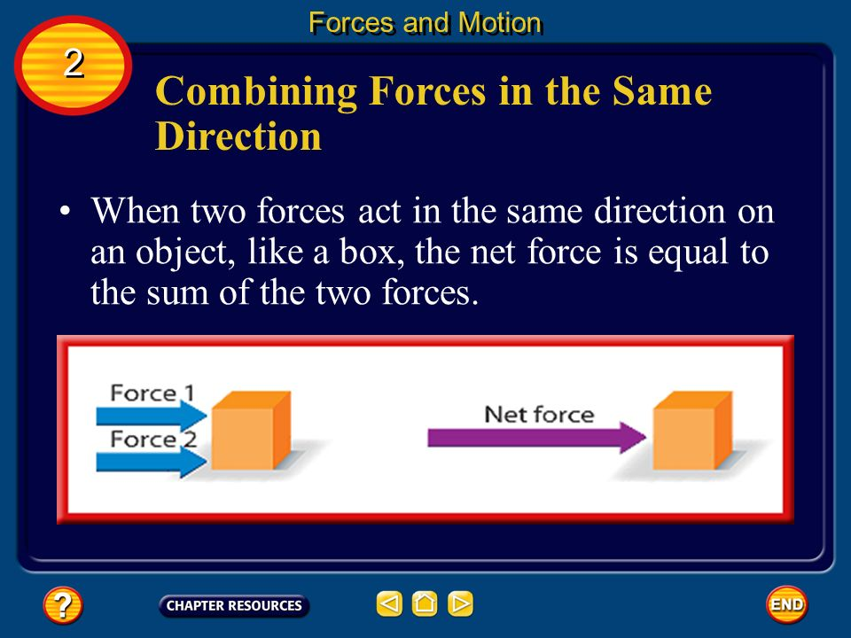 Forces and Motion 2 2 How Forces Combine When more than one force acts on an object, the forces combine. The combination of all the forces acting on a