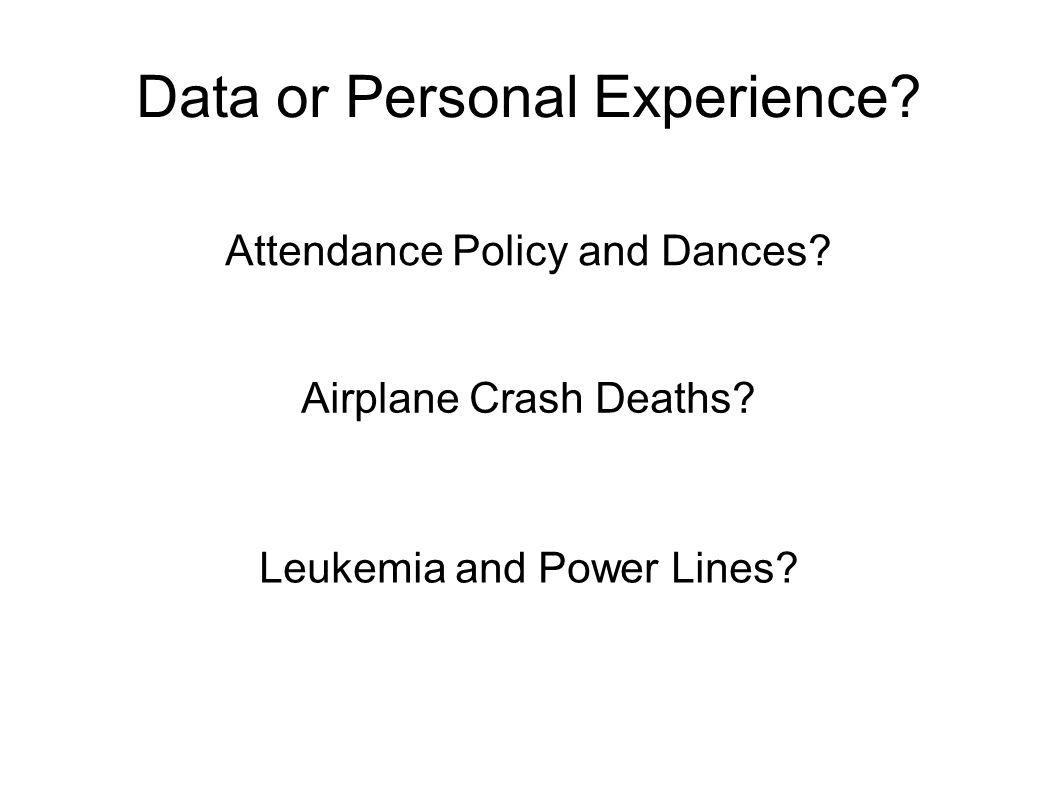 Data or Personal Experience? Attendance Policy and Dances? Airplane Crash Deaths? Leukemia and Power Lines?