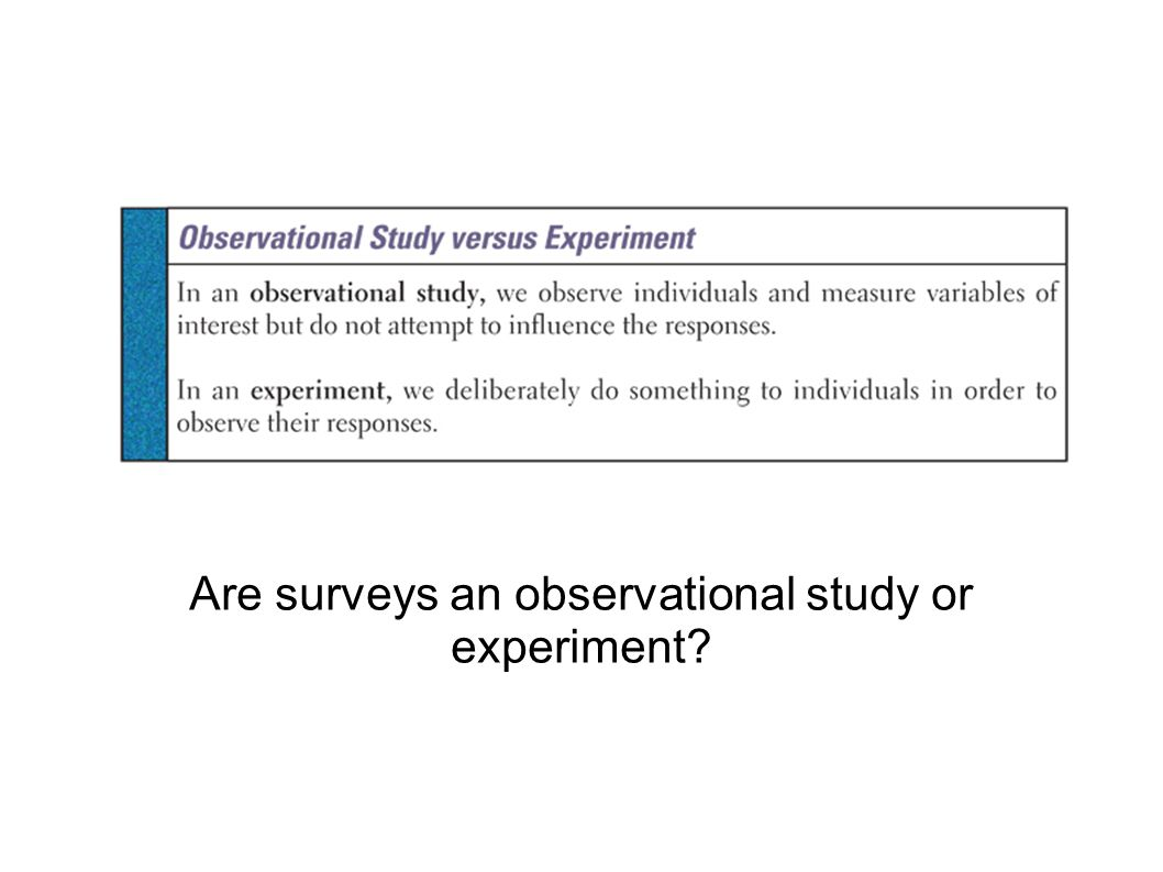 Observational study slide Are surveys an observational study or experiment