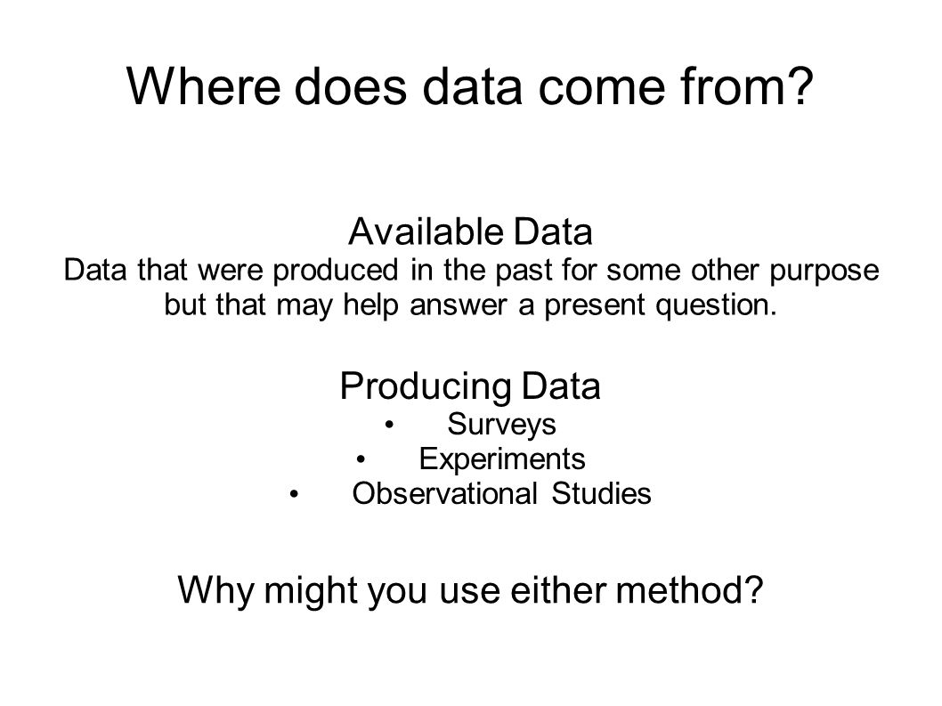 Where does data come from? Available Data Data that were produced in the past for some other purpose but that may help answer a present question. Prod
