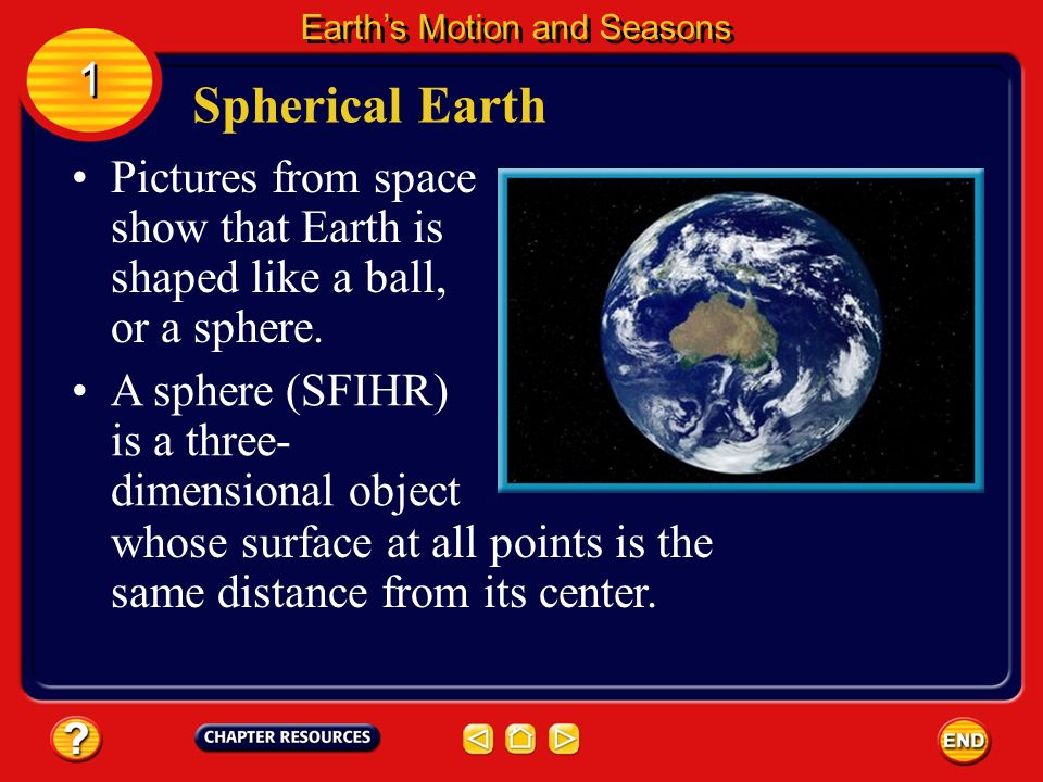Pictures from space show that Earth is shaped like a ball, or a sphere.