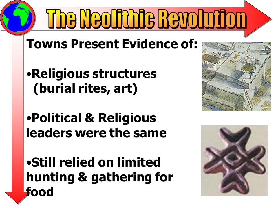 Towns Present Evidence of: Religious structures (burial rites, art) Political & Religious leaders were the same Still relied on limited hunting & gath