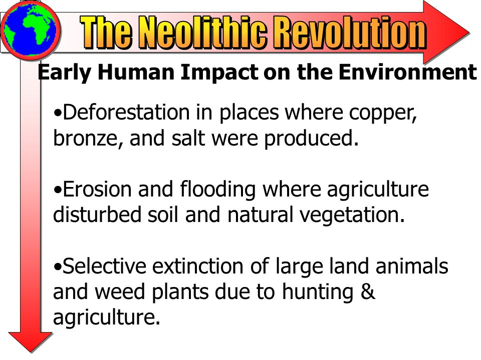Early Human Impact on the Environment Deforestation in places where copper, bronze, and salt were produced. Erosion and flooding where agriculture dis
