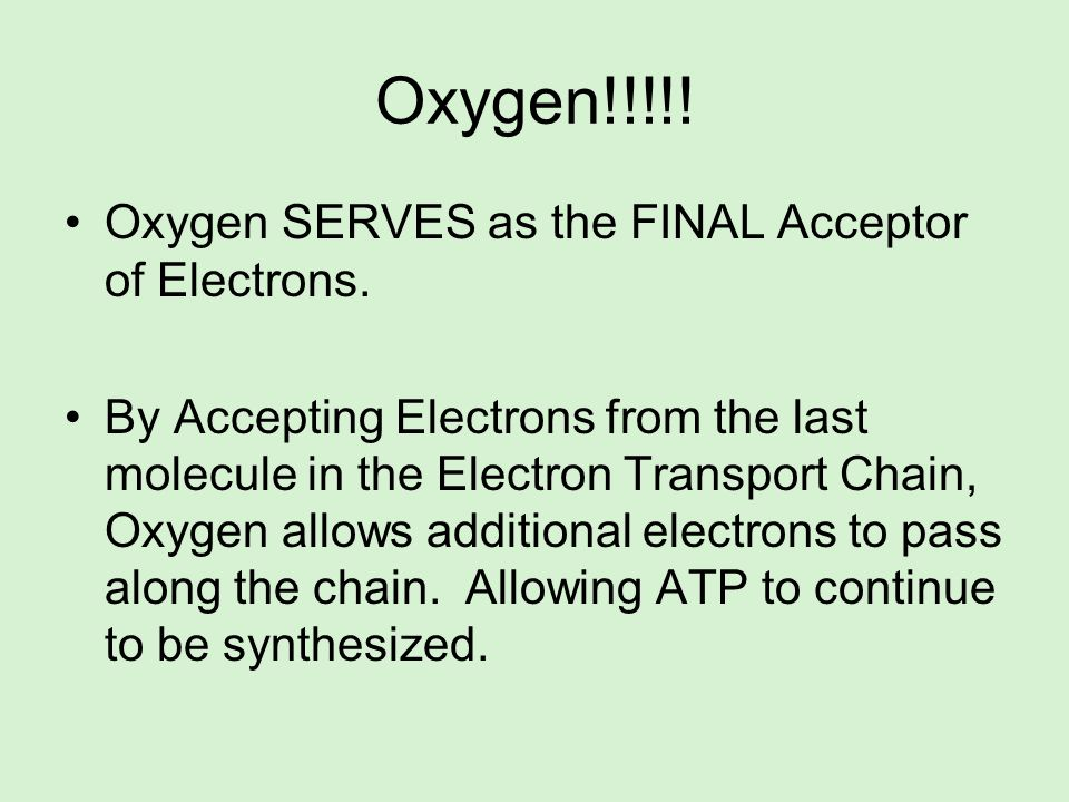 Oxygen!!!!! Oxygen SERVES as the FINAL Acceptor of Electrons. By Accepting Electrons from the last molecule in the Electron Transport Chain, Oxygen al
