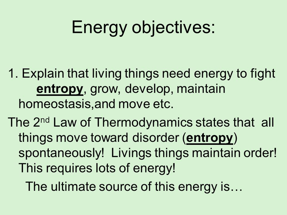 Energy objectives: 1. Explain that living things need energy to fight entropy, grow, develop, maintain homeostasis,and move etc. The 2 nd Law of Therm